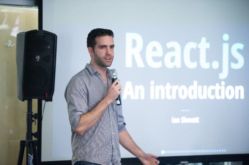 Ian Speaking at Real World React Meetup